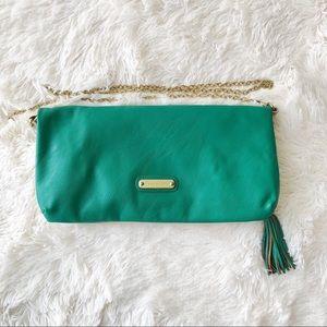 Steve Madden green purse clutch fringe tassel